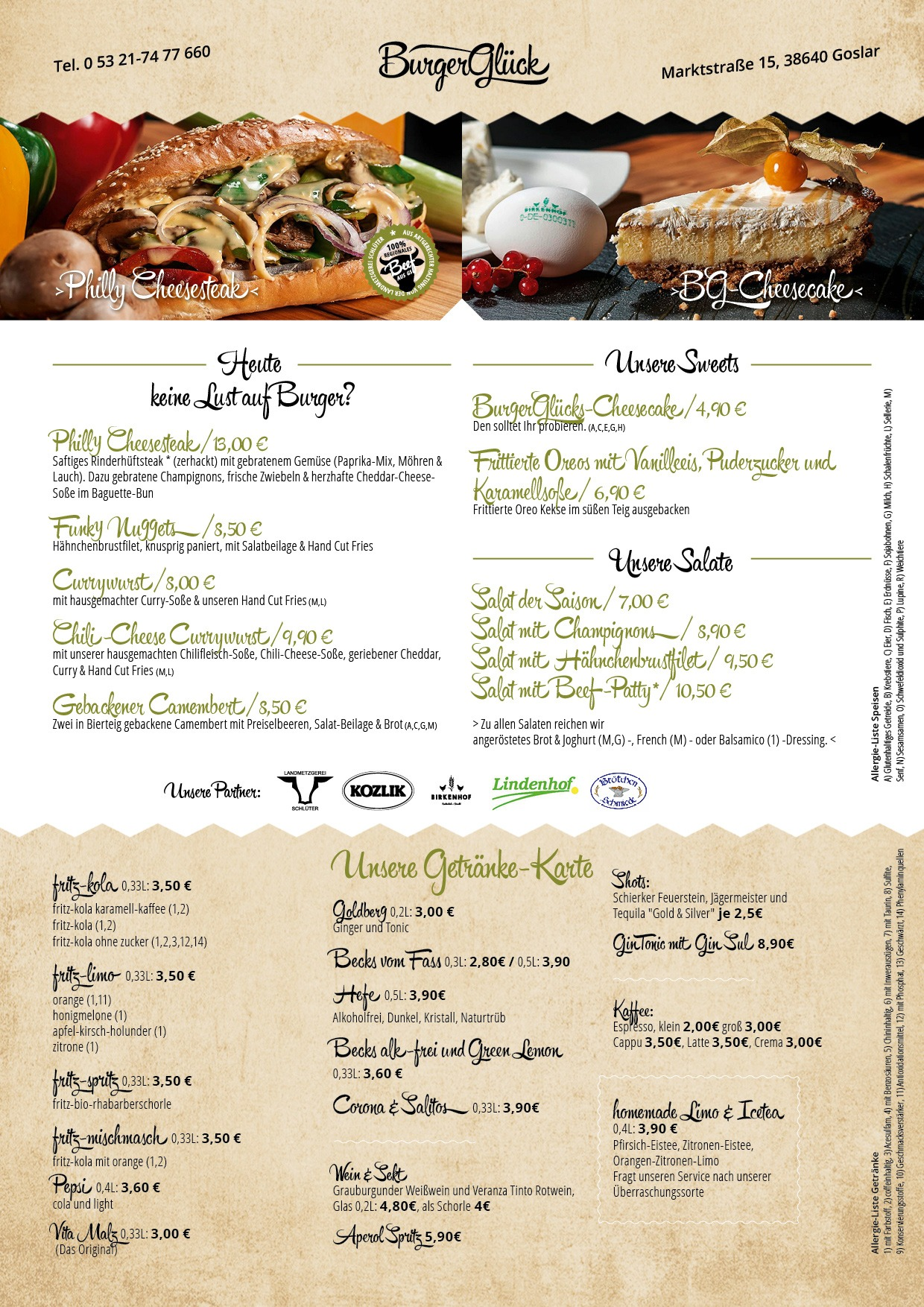 Burgerglück Restaurant Speisekarte Seite 2