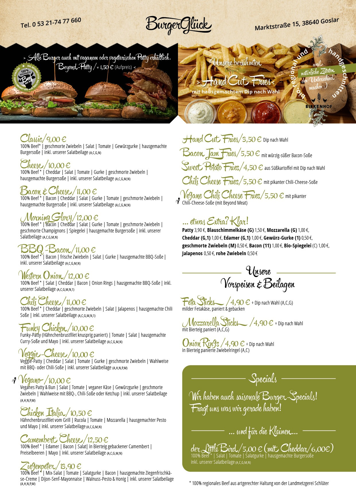 Burgerglück Restaurant Speisekarte