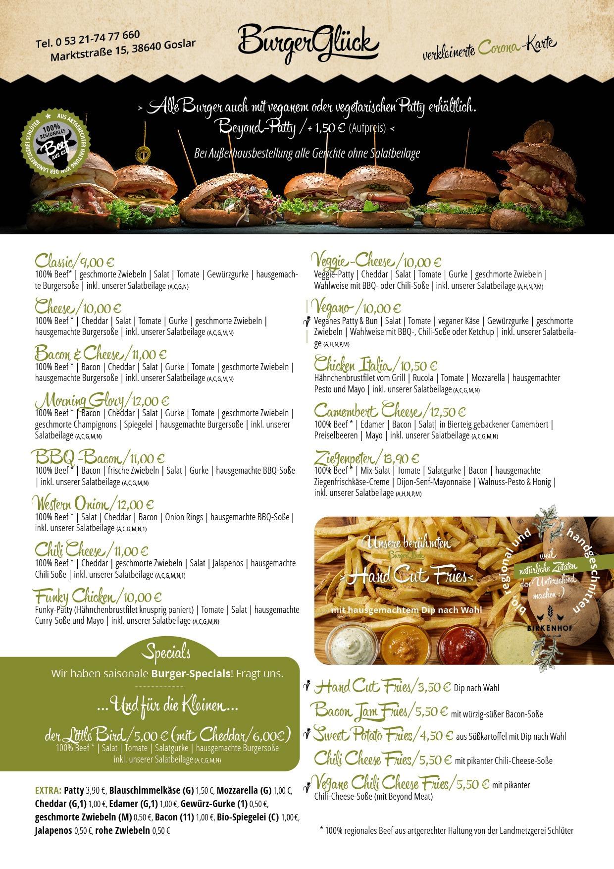 Burgerglueck Speisekarte Restaurant Teil 1