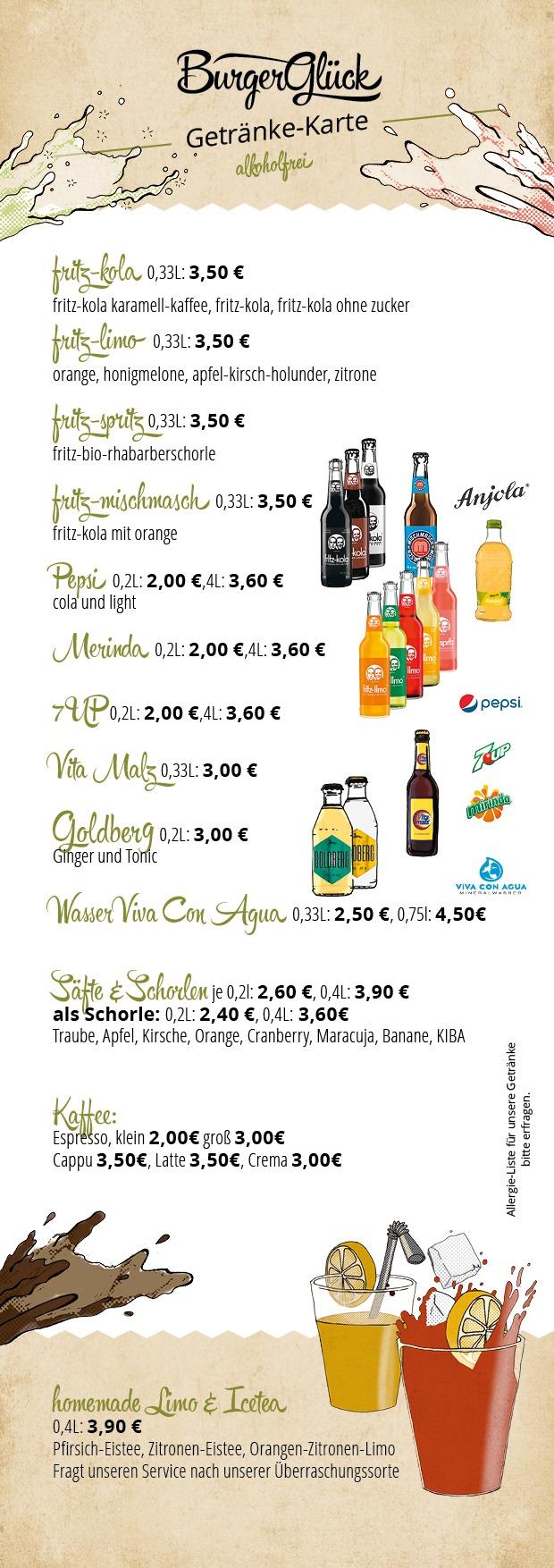 Burgerglück Getränkekarte Restaurant Teil 1